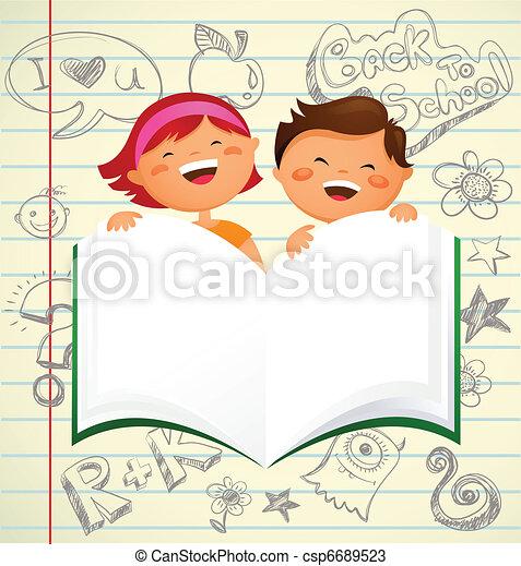 De vuelta a la escuela, niños con un libro abierto - csp6689523