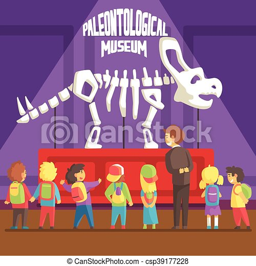escolares, esqueleto, paleontología, museo, triceratops, luego, groop - csp39177228