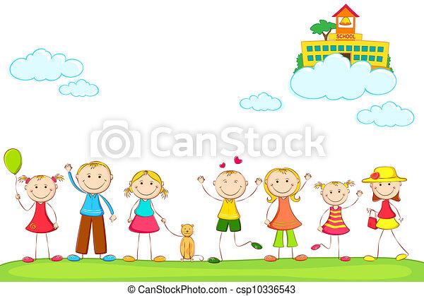 Niños con escuela en las nubes - csp10336543