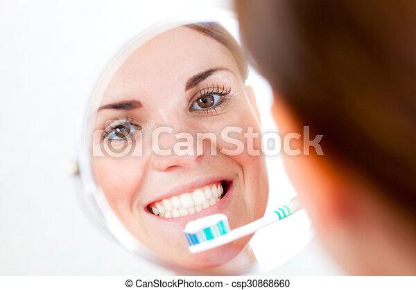 escova de dentes, dental, mulher, cuidado - csp30868660