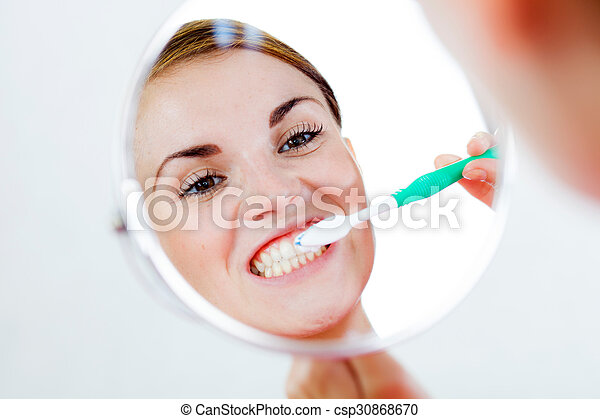 escova de dentes, dental, mulher, cuidado - csp30868670