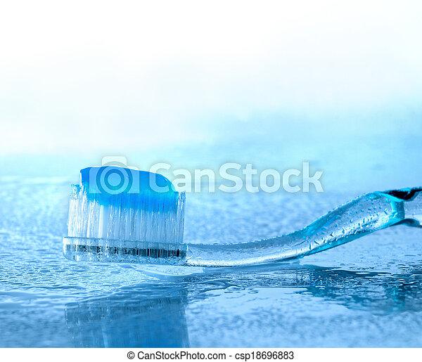 escova de dentes, vidro, pasta, molhados - csp18696883