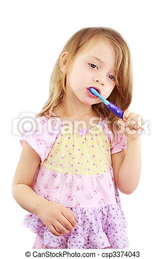 escovar, criança, dentes - csp3374043