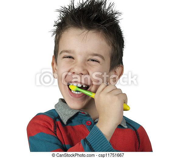 escovar, menino, seu, dentes - csp11751667
