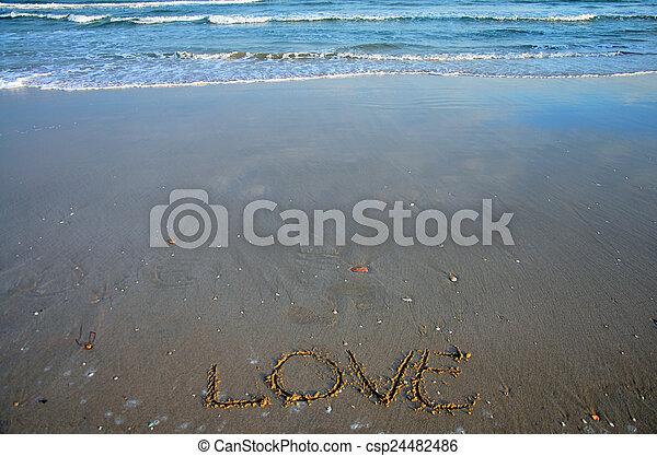 escribir, palabra, playa, amor - csp24482486