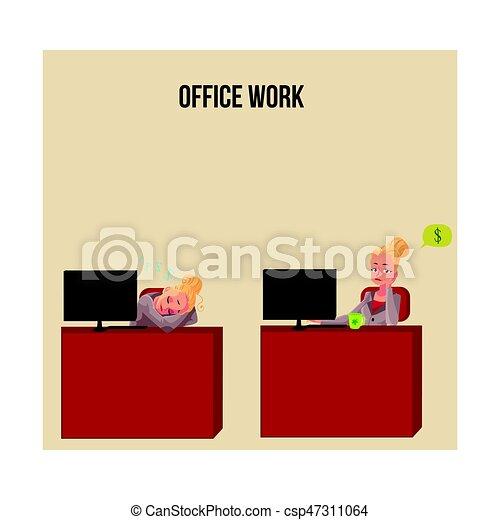 escritório, cochilando, pensando, dinheiro, jovem, executiva, escrivaninha, secretária - csp47311064