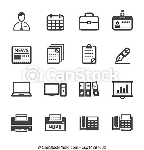 escritório negócio, ícones - csp14297032
