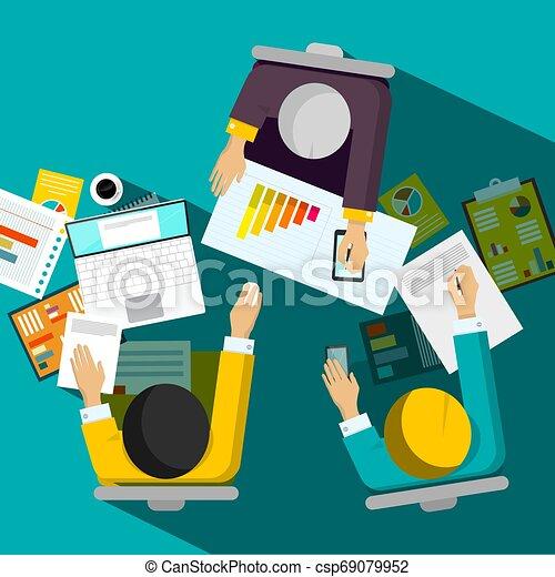 escritório, negócio, sentando, topo, vetorial, desenho, homens negócios, vista, quarto encontrando - csp69079952