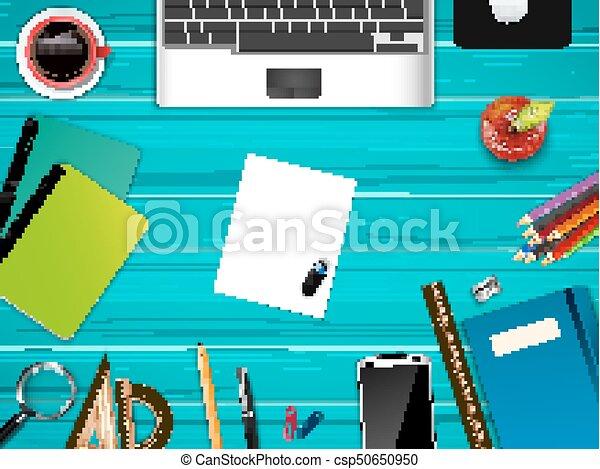 escritório negócio, topo, local trabalho, fundo, vista - csp50650950
