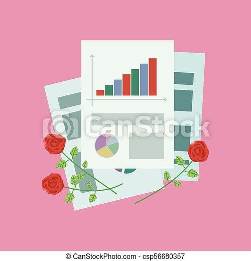 escritório, papel, p, rosees, folhas, composição, vermelho - csp56680357