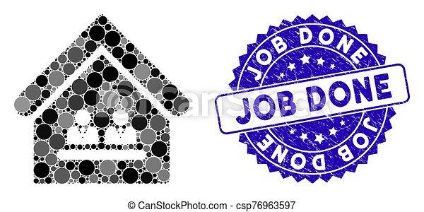 escritório, textured, ícone, gerência, mosaico, feito, selo, trabalho - csp76963597