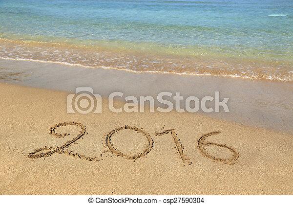 2016 escrito en la playa arenosa - csp27590304