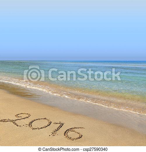 2016 escrito en la playa arenosa - csp27590340
