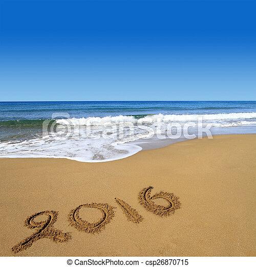 2016 escrito en la playa arenosa - csp26870715