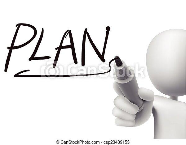 escrito, 3d, palabra, plan, hombre - csp23439153