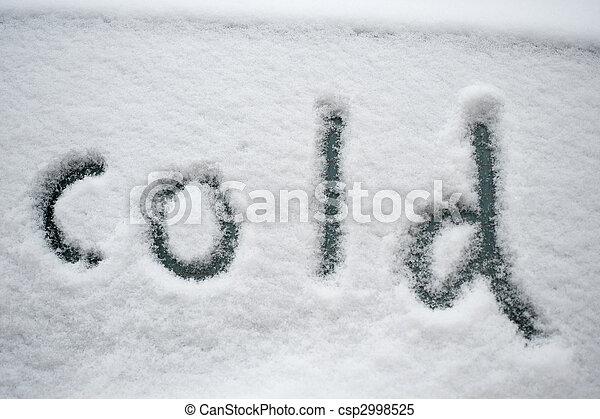"""escrito, \""""cold\"""", neve - csp2998525"""