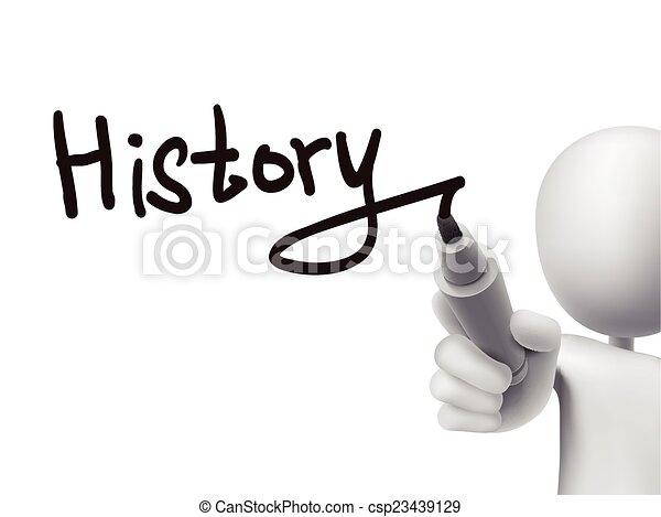 escrito, homem, palavra, 3d, história - csp23439129