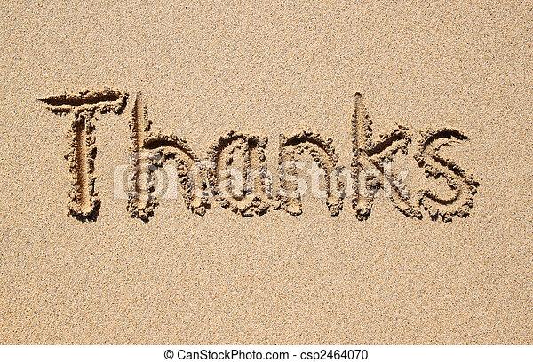 Gracias, escrito en una playa arenosa. - csp2464070