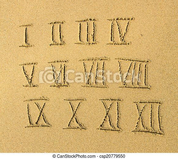 Números romanos escritos en una playa arenosa. - csp20779550