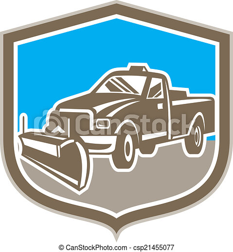 escudo, arado, caminhão, retro, neve - csp21455077