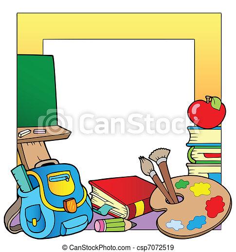 Escuela, 2, tema, marco. Escuela, illustration., marco, -, tema ...
