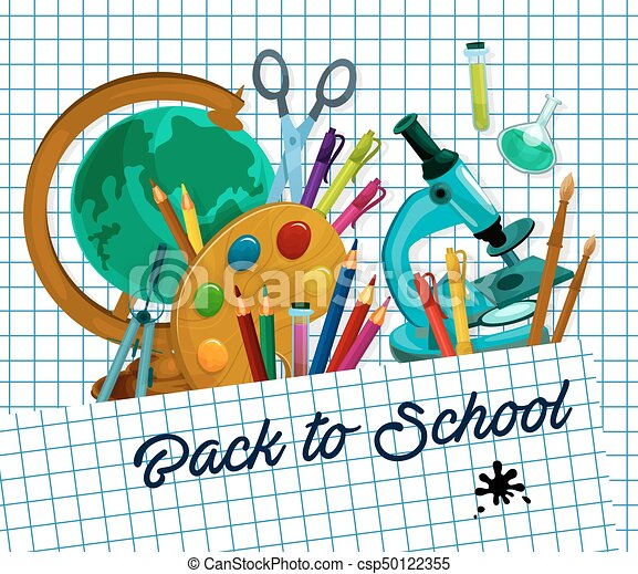 Escuela, a cuadros, cartel, espalda, vector, página. Espalda, diseño ...