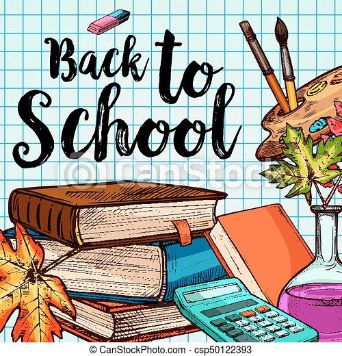 Escuela, cartel, espalda, vector, bosquejo, papelería. Bosquejo ...