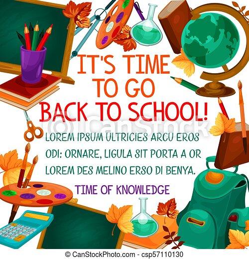 Escuela, cartel, espalda, vector, tiempo, educación. Septiembre ...