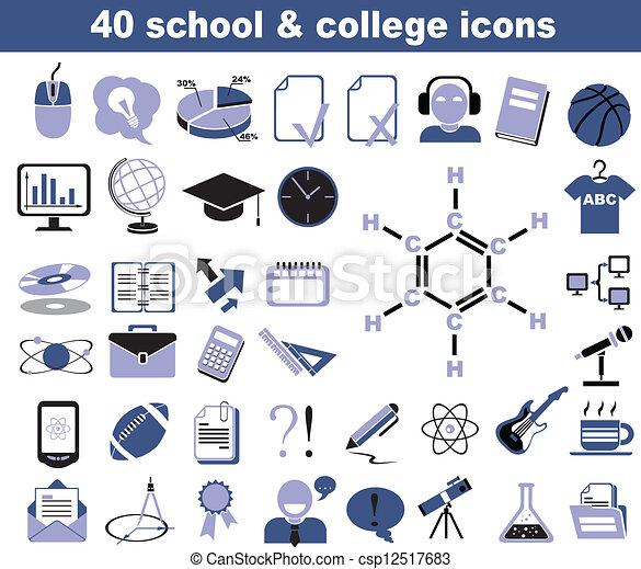 40 iconos escolares y universitarios - csp12517683