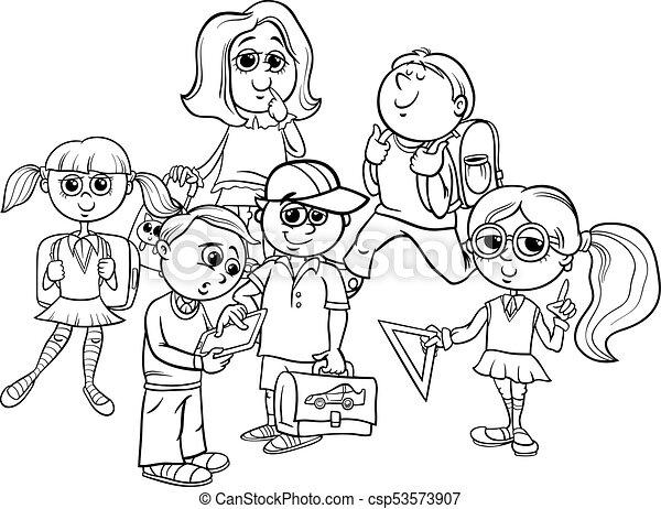 Libro De Colorear Para Ninos De La Escuela Primaria Ilustracion