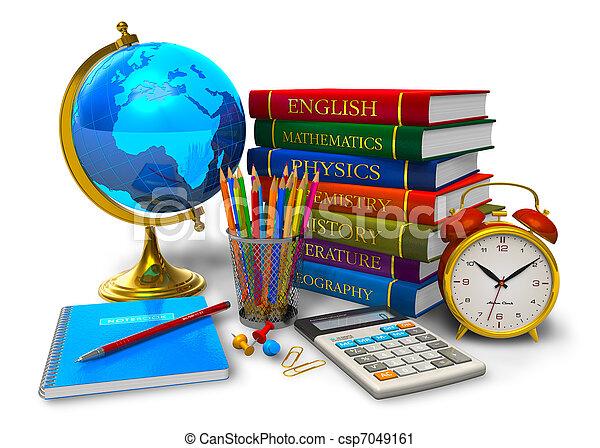 escuela, concepto, educación, espalda - csp7049161