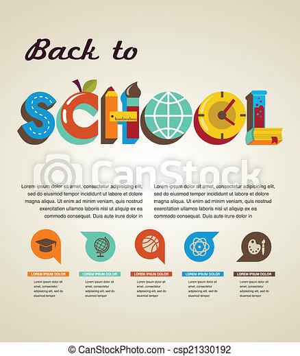 Volver a la escuela - texto con iconos. El concepto del vector - csp21330192