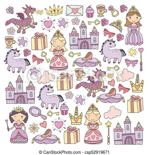 Un Conjunto De Princesa Garabatos Y Icono De Fantasía Y