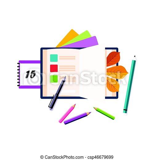 Programas, calendarios y lápices, conjunto de escuelas y objetos relacionados con la educación en colorido estilo dibujos animados - csp46679699