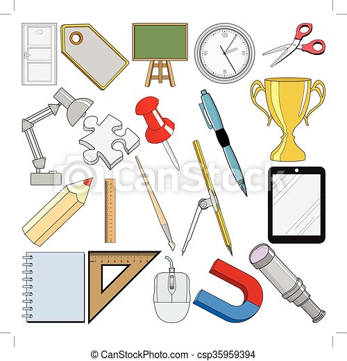 Un conjunto de objetos relacionados con la escuela - csp35959394