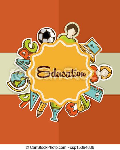 escuela, educación, espalda, icons., etiqueta - csp15394836