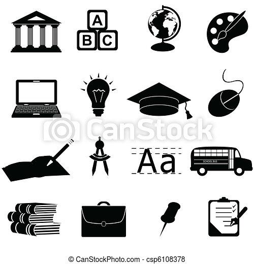 escuela, educación, iconos - csp6108378