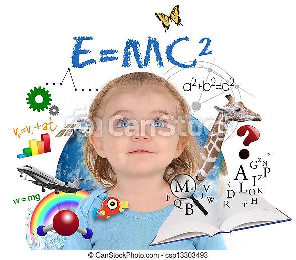 Chica de la escuela de educación aprendiendo sobre blanco - csp13303493