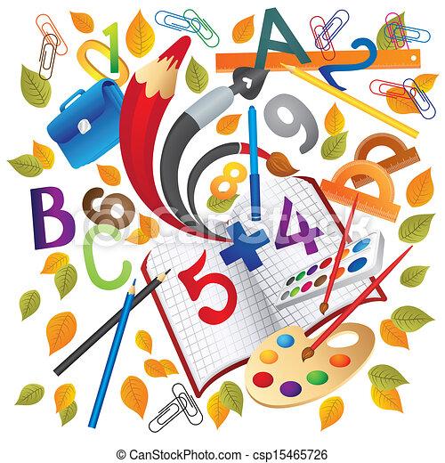 escuela, educación, objetos - csp15465726