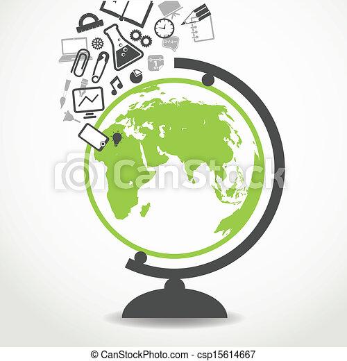 escuela, fluir, educación, globo, iconos - csp15614667