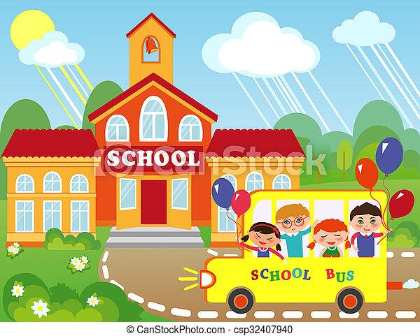 Escuela ilustraci n ni os yendo bus caricatura for A que zona escolar pertenece mi escuela