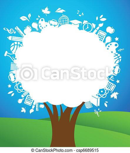 De vuelta a la escuela, árbol con iconos educativos - csp6689515