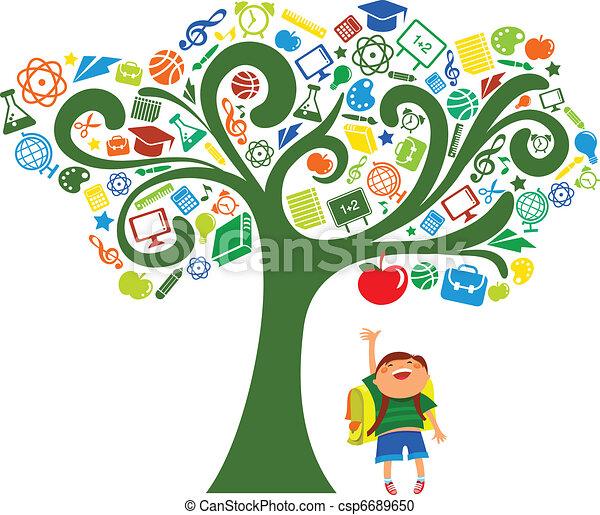 De vuelta a la escuela, árbol con iconos educativos - csp6689650