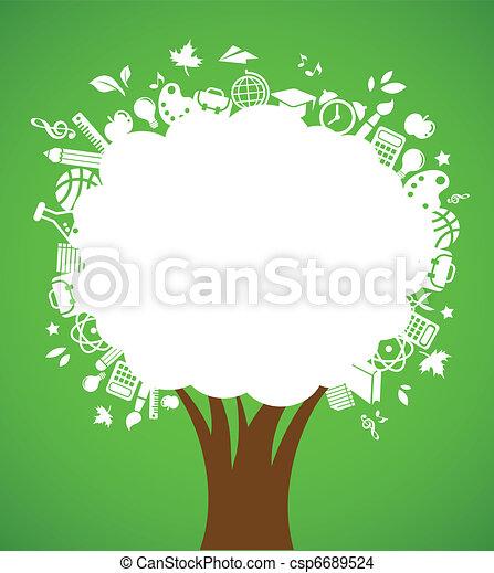 De vuelta a la escuela, árbol con iconos educativos - csp6689524