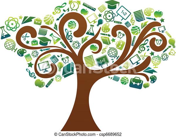 De vuelta a la escuela, árbol con iconos educativos - csp6689652