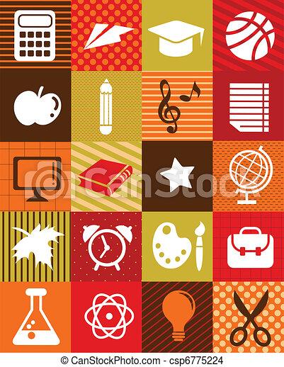 De vuelta a la escuela, fondo con iconos educativos - csp6775224