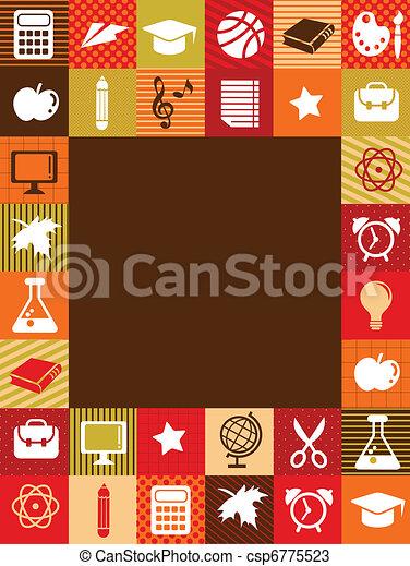 De vuelta a la escuela, fondo con iconos educativos - csp6775523
