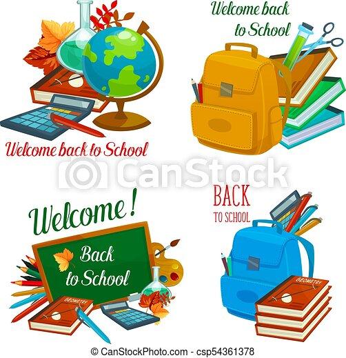 Escuela, iconos, estudio, espalda, vector, papelería. Estacional ...