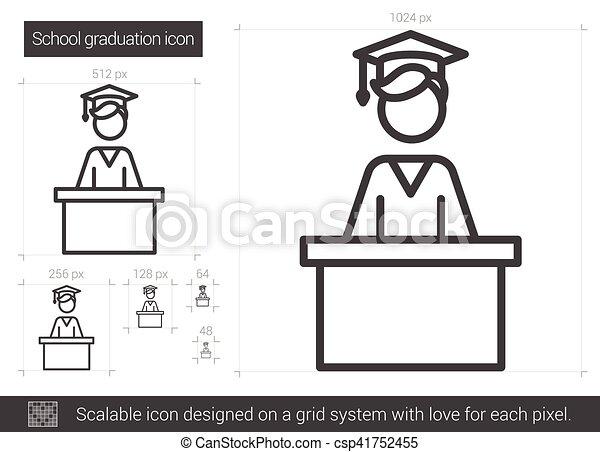 El icono de la línea de graduación de la escuela. - csp41752455