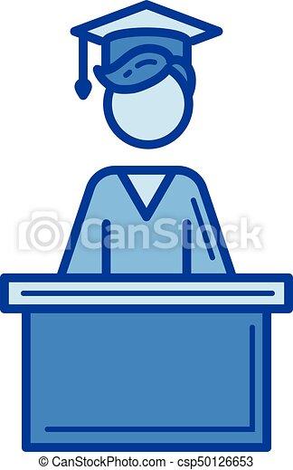 El icono de la línea de graduación de la escuela. - csp50126653